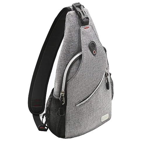 Men/'s Canvas Shoulder Chest Sling Sac de Bandoulière USB port de charge Jian