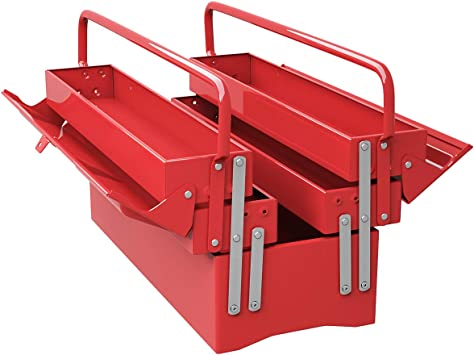 Goplus 20-Inch Metal Tool Box Portable 5-Tray Cantilever Steel Tool Chest Cabinet, Red: image