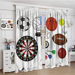 TBRfine Boys Room, Blackout Curtains, Balls Dart Hockey Puck, for Kitchen, Bedroom, Living Room, 84x84 inch
