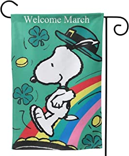 Criss Garden Flag,Snoopy Welcomes March Double Sided Outdoor Flag House Banner for Yard Home Decor 12.5
