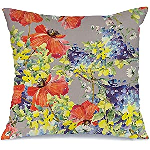 Pillow Cover Decorative Pillowcase Colorful Red Poppies Silk Summer Template Blue Flowers Blooming Seamless Bouquet Abstract Textures Linen Comfortable Square Cushion Case for Car Couch 18×18 Inch