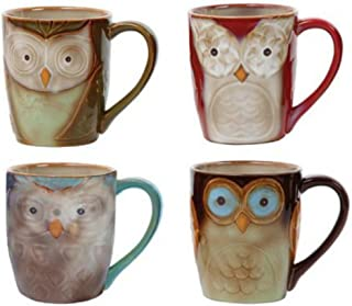 Coffee Cup set by Gibson Owl City 17 oz Mug Set Assorted colors 4 piece set Hand painted