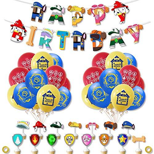 TNMV Juego de Decoraciones para Fiestas de Patrulla de Perros,Paw Patrol Cumpleaños Estandarte Pancarta de Feliz cumpleaños,Decoraciones Cumpleaños de Fiesta para Niños