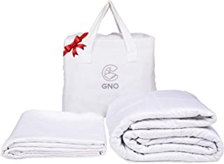 GnO White Weighted Blanket & Bonus Removable Bamboo Duvet Cover - 100% Organic Cooling Cotton & Glass Beads - Premium Heavy Blanket for Adult - Designed in USA - (15 Lbs - 60''x80'' Queen Size)
