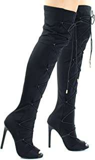 2a4df83a370 Liliana Peep Toe OTK Over Knee Thigh High Boots w Elastic Lace Up Corset  Strap