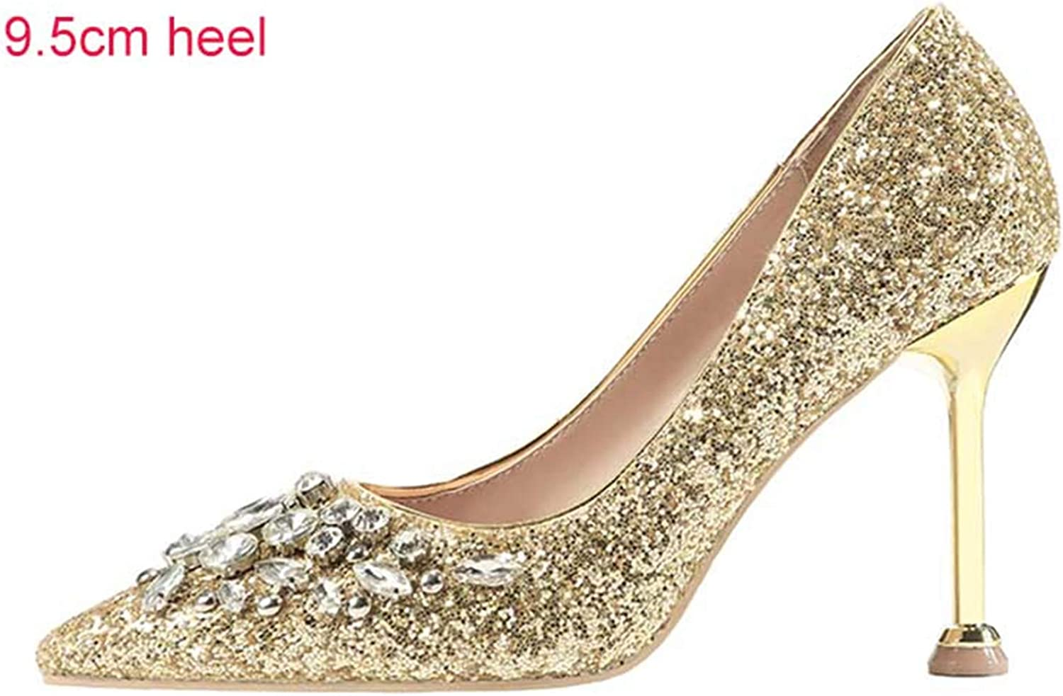 New Spring Autumn Women Pumps High Thin Heel Pointed Toe Crystal Bridal shoes