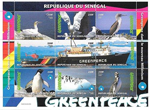 Francobolli da Collezione - Greenpeace Uccelli e pinguini MNH foglietto/Senegal / 2000