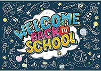 HD10x7ftようこそ学校に戻る背景幼稚園の初日ダークブルー写真の背景教師と生徒ランチパーティーの装飾オフィスバナー教室用品フォトブース
