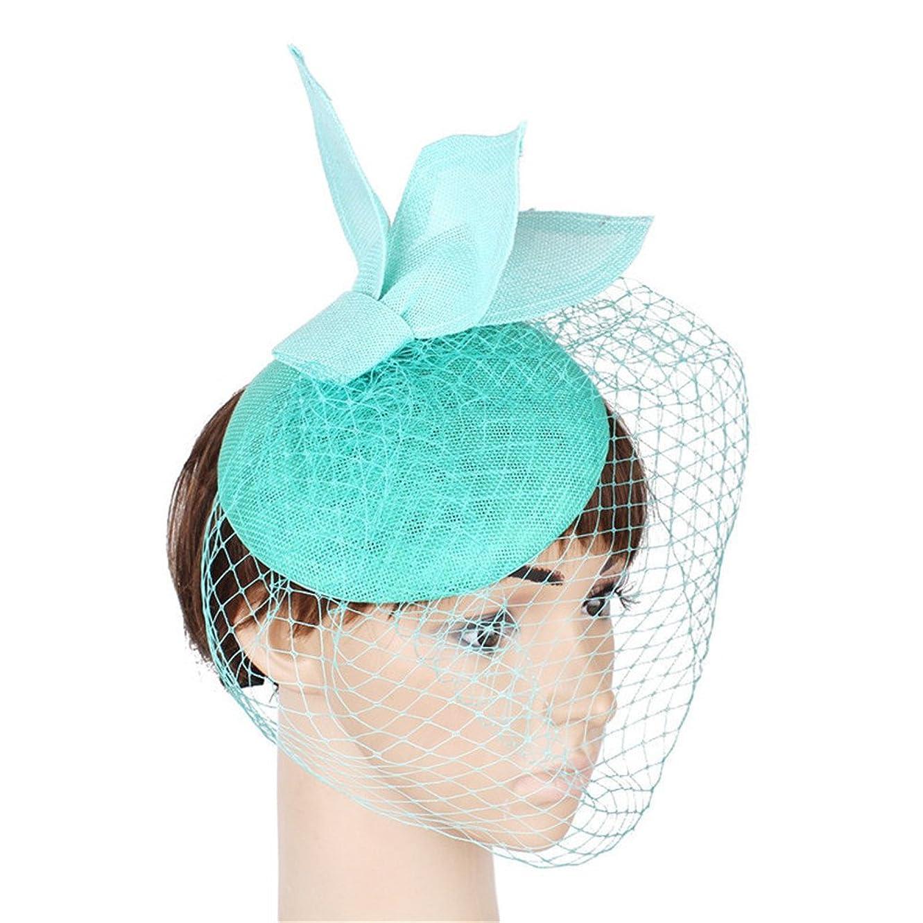 食器棚船上太平洋諸島女性の魅力的な帽子 フラワーフェザーヘッドバンド魅惑的な結婚式の帽子コンペティションロイヤルアスコットカクテルパーティーダービーキャップ用女性 (色 : レイクブルー)