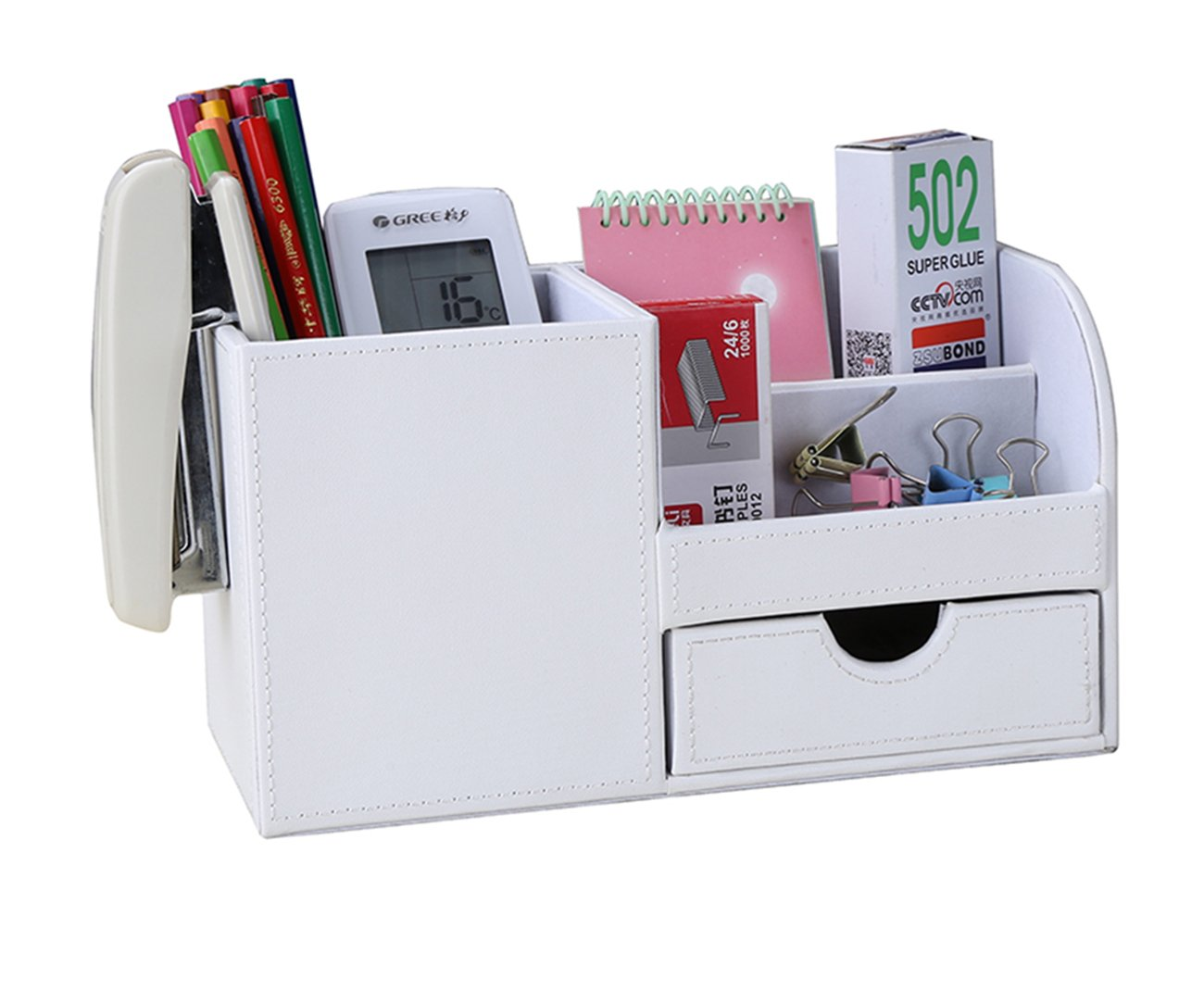 KINGFOM Desk Organiser Tidy Caddy Leather Pen Pencil Pots Holder Stationery  Storage Office Desktop Supplies Organisers with Drawer White