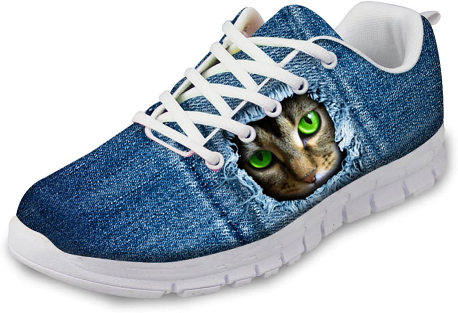 coloranimal Women's bluee Running shoes Fashion Animal Cat Pattern Walking Sneakers