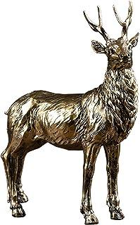 鹿的模型 风水摆件 树脂 工艺品 风水用品 金色型 吉祥物 办公室 车 家 玄关 装饰品 室内装饰 幸运 ギフトとして、デスクトップデコレーション、オフィスデコレーション - 金色 (Size: 26