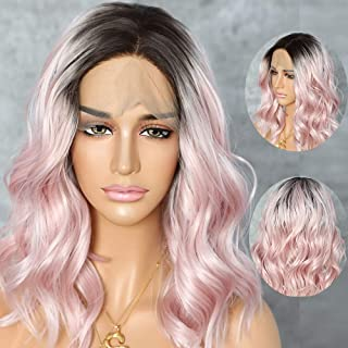 QD-Udreamy Ombre Brown Roots To Pink Synthetic Lace Front Wigs Short Style Natural Wavy Summer Hair Synthetic Wigs for Women