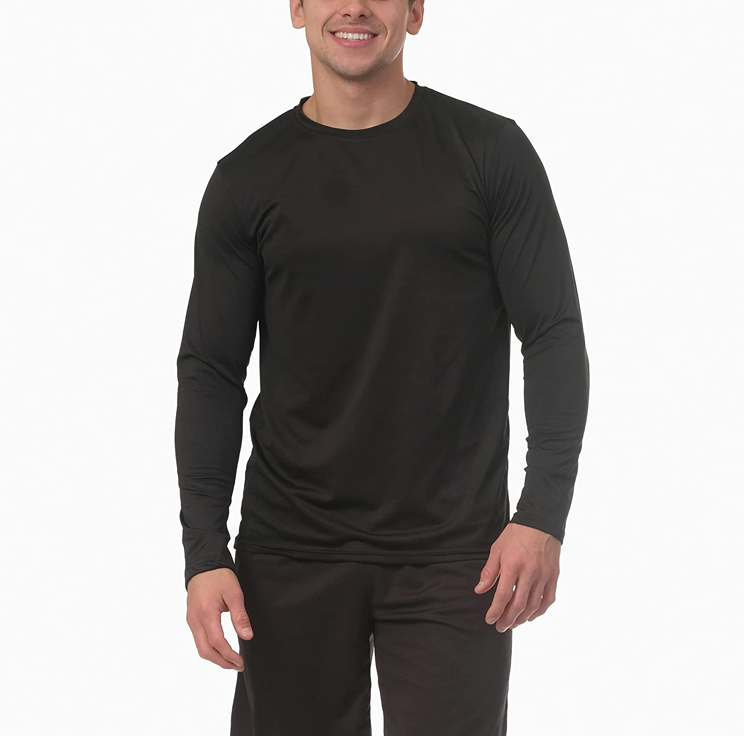 4 Pack: Men's Dry-Fit Moisture Wicking Performance Long Sleeve T-Shirt, UV Sun Protection Outdoor Active Athletic Crew Top at  Men's Clothing store