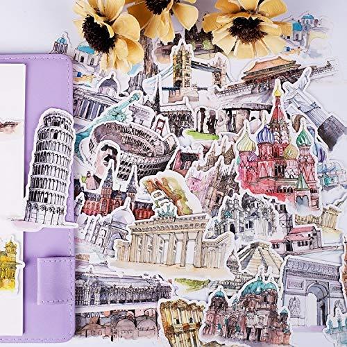 Achtergrond Hand Account Materiaal Koffer Retro Print Creatieve Stad Gebouw Wereldwijd Hand Account Sticker Meisje Zwart En Wit