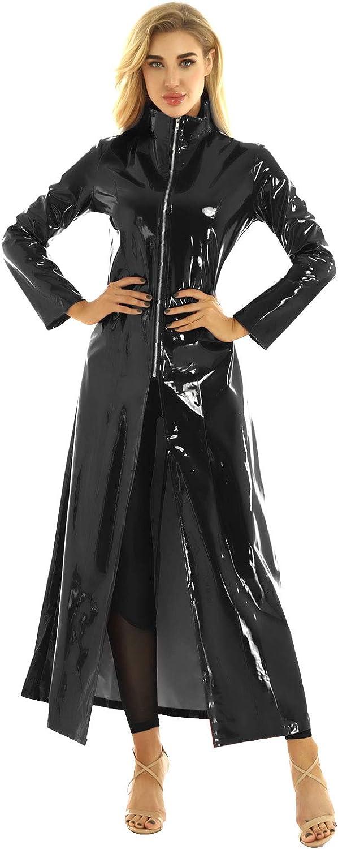 Hedmy Women's Adult Shiny Metallic Leather Turtleneck Trench Coat Long Jacket Cloak Dress Clubwear