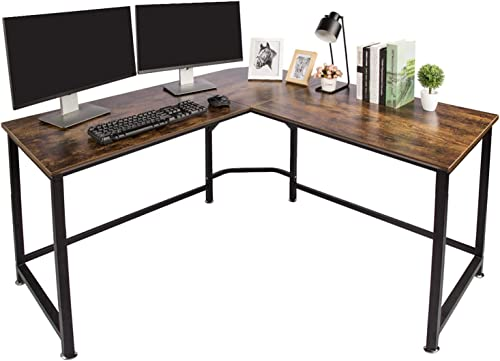 "TOPSKY L-Shaped Desk Corner Computer Desk 55"" x 55"" with 24"" Deep Workstation Bevel Edge Design (Industrial/Rustic Br..."
