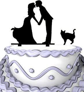 Meijiafei Loving Kissing Couple With Pet Cat Silhouette Wedding Cake Topper