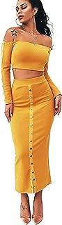 Rozegaga Womens Off The Shoulder Long Sleeve Crop Top & Long Skirt Set Party Dress