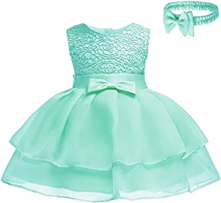 96a27a55479eb HX Baby Girls Princess Sleeveless Lace Bowknot First Birthday Christening  Baptism Special Occasion Dresses with Headband