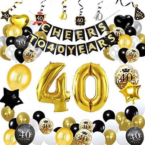 Decorazioni per la Festa del 40 ° Compleanno, Forniture per Feste in Oro Nero Imposta Applausi a 40 Anni Banner Foil Coriandoli Palloncini in Lattice Stelle Filanti per Uomo dei Donna