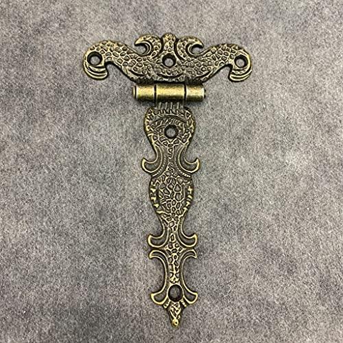 SJYDQ 2 unids gabinete Puerta Tope bisagras Vintage latón Chapado Grande bisagra Grande joyería Decorativa Caja de Madera Accesorios de Muebles 113 * 69mm