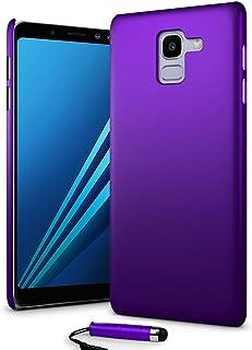 24/7 Oliver Samsung Galaxy A8 2018 hårt fodral ultratunt skal bakskydd + Samsung Galaxy A8 2018 skärmskydd + pekpenna (lila)