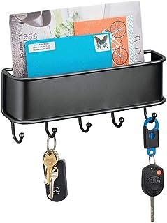 mDesign Organizador de cartas con varios ganchos cuelga llaves – Organizador de pared para correo, llaves, móviles, correa para perros, etc. – Organizador de llaves con bandeja de metal – negro