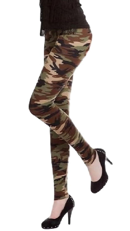 [サラローズ]レギンス スパッツ スキニー スリム ロング パンツ 10分丈 マルチ 迷彩 柄 フリーサイズ 柔らか フィット ストレッチ ウエスト ゴム ミリタリー