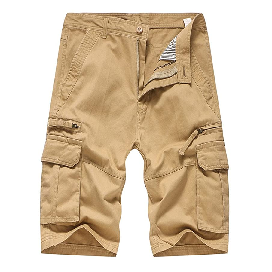 Realdo Men's Solid Shorts, Casual Pure Color Outdoors Pocket Work Trouser Cargo Pant