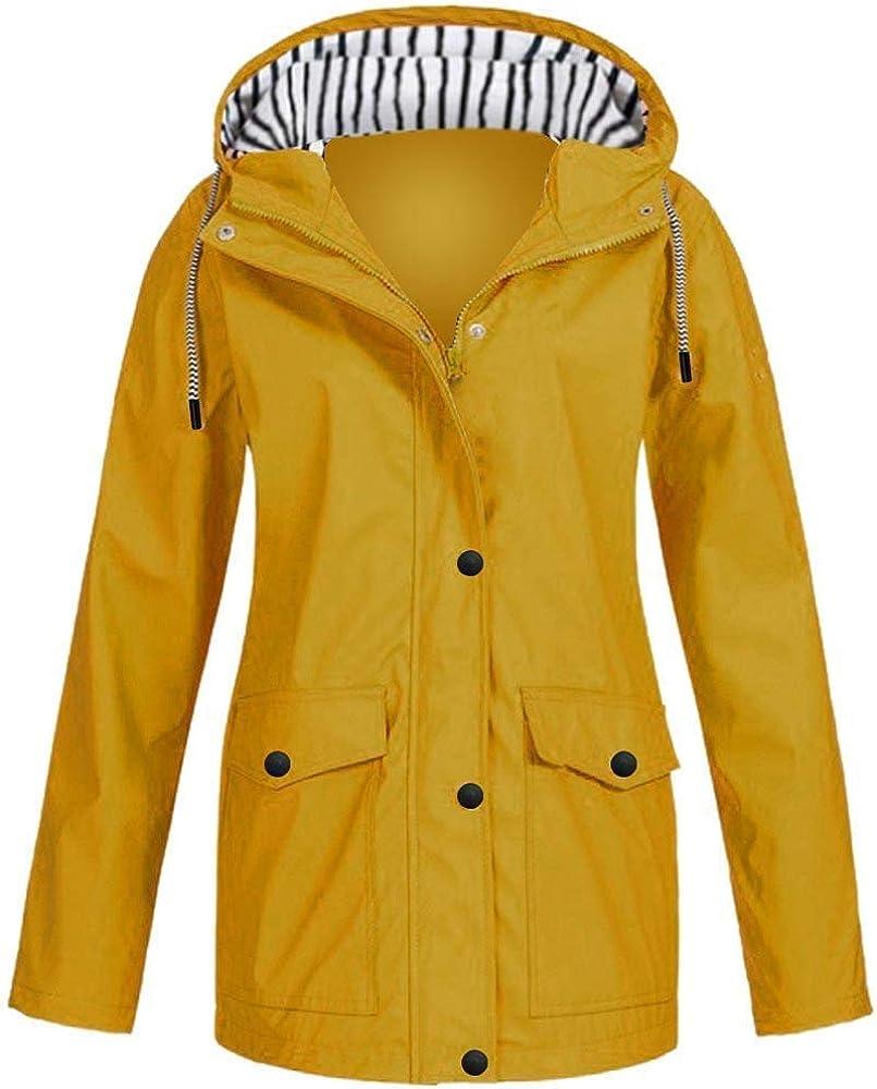 haoricu Hooded Rain Jacket for Women Plus Size Outdoor Light Weight Oversized Waterproof Hooded Raincoat Windproof