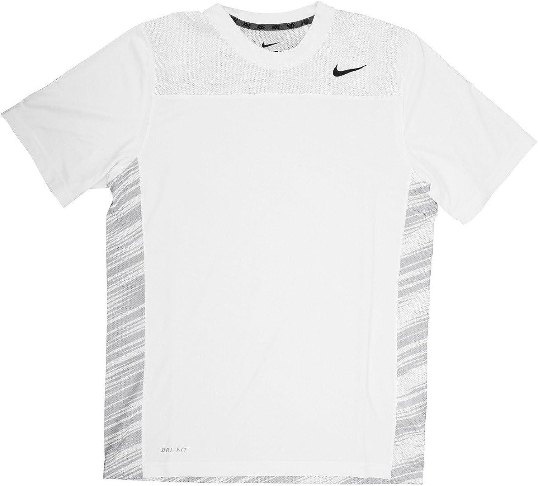 Nike NIKE330889 Dri-Fit Men's Short Sleeve White White White Print Black Logo Training Shirt-Extra Small b08fe9