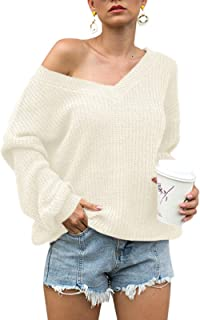 Century Star Women's Casual Sweater Loose Knit Batwing Sleeve Pullover Off The Shoulder Hollow Junper Tops V Neck White Medium