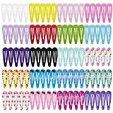 HBF 100 Stk Haarspangen (10 verschiedene Farben mit je 6 stk+ 10 verschiedene Mustern mit je 4 stk = 100 Stück) Hairclips