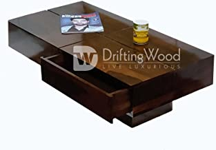 Driftingwood Sheesham Wood Tv Stand/Coffee Table for Living Room | with 2 Drawers and Storage | Walnut Finish