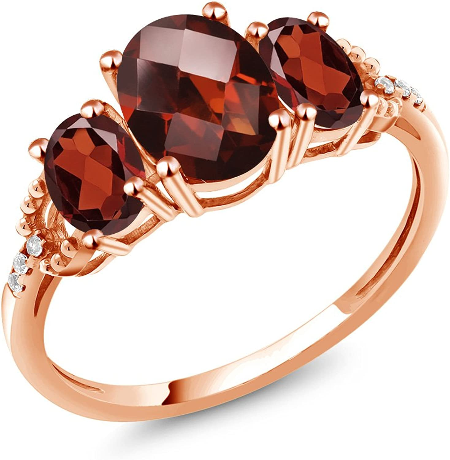 2.44 Ct Oval Checkerboard Red Garnet 10K pink gold Diamond Accent Ring