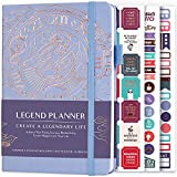 Legend Planner – Deluxe Weekly & Monthly Life Planner to Hit Your Goals & Live Happier. Organizer Notebook & Productivity Journal. A5 Hardcover, Undated – Start Any Time + Stickers – Periwinkle Gold