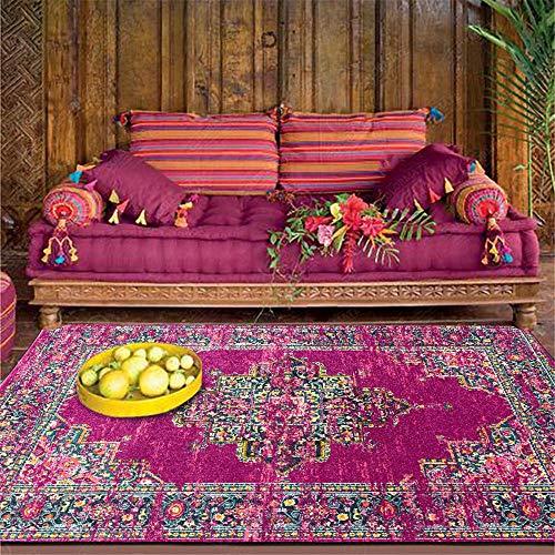 Alfombras Lujo Antideslizante Mesa de Centro La alfombras Estilo étnico Retro Amarillo Rojo con Flores geométricas Doodle a Prueba de Manchas Alfombra 120*160cm