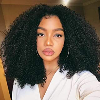 BLY Mongolian Afro Kinky Curly Human Hair 3 Bundles (16 18 20inches) Unprocessed Hair Weave Weft Big Hair for Black Women Natural Color