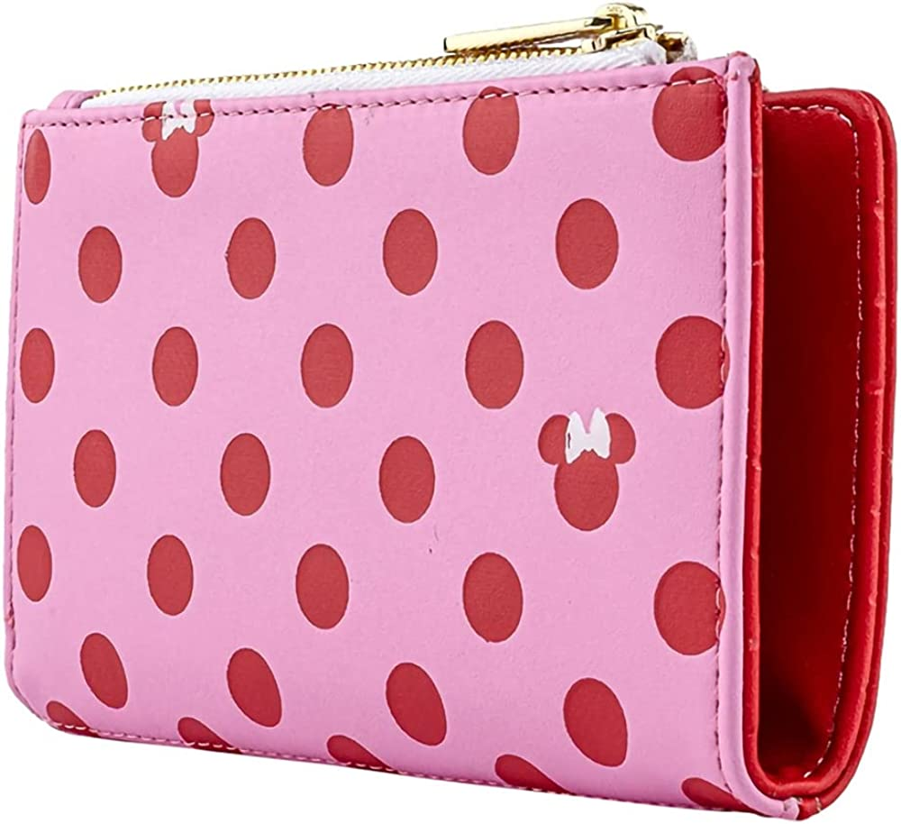 Now free shipping Loungefly Disney Minnie Mouse Pink Las Vegas Mall Polka Faux Dot Pattern Leathe