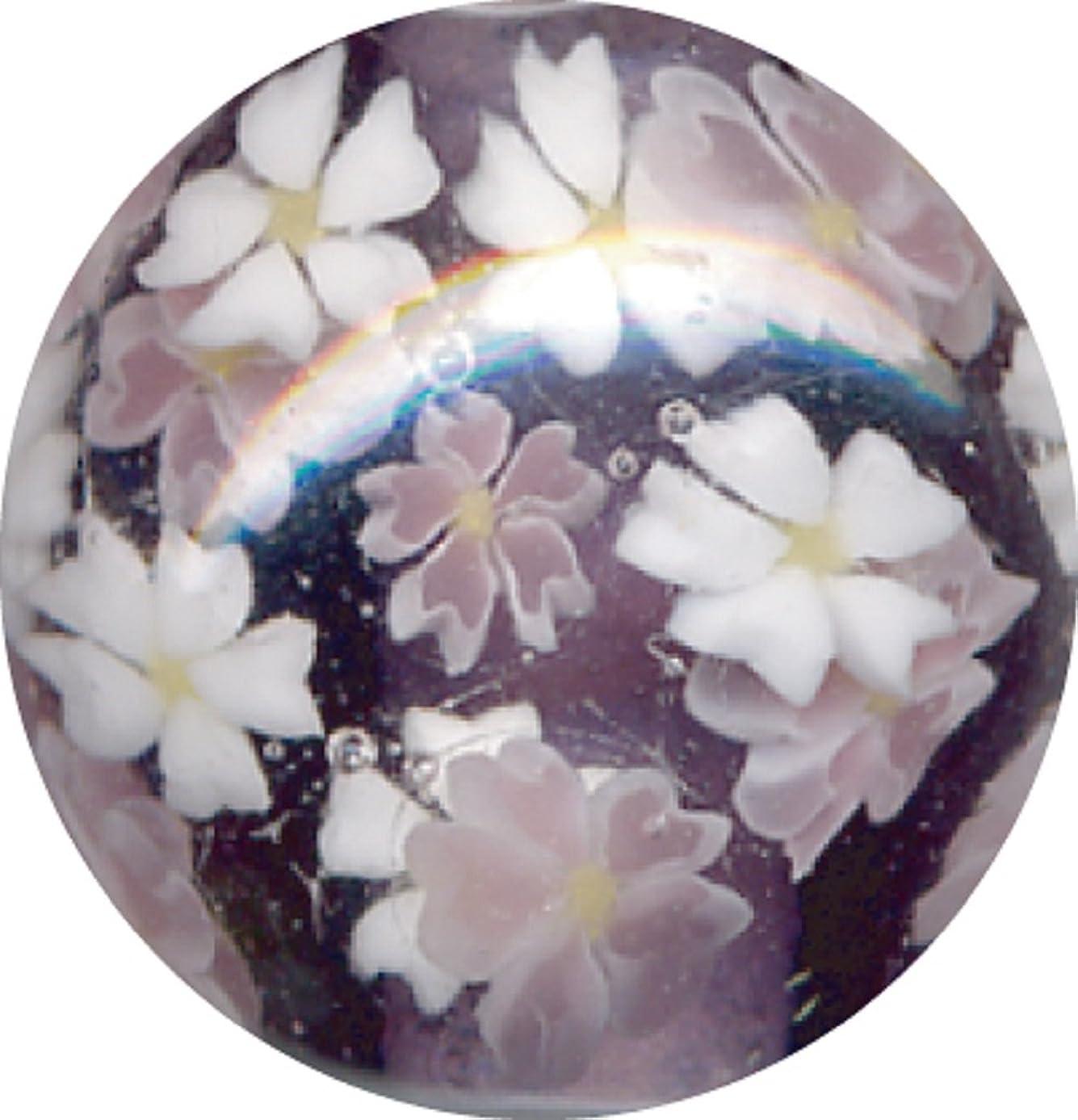 協定間違い永続とんぼ玉 桜柄 紫