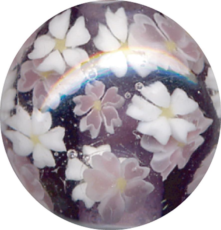 ビットスポット材料とんぼ玉 桜柄 紫