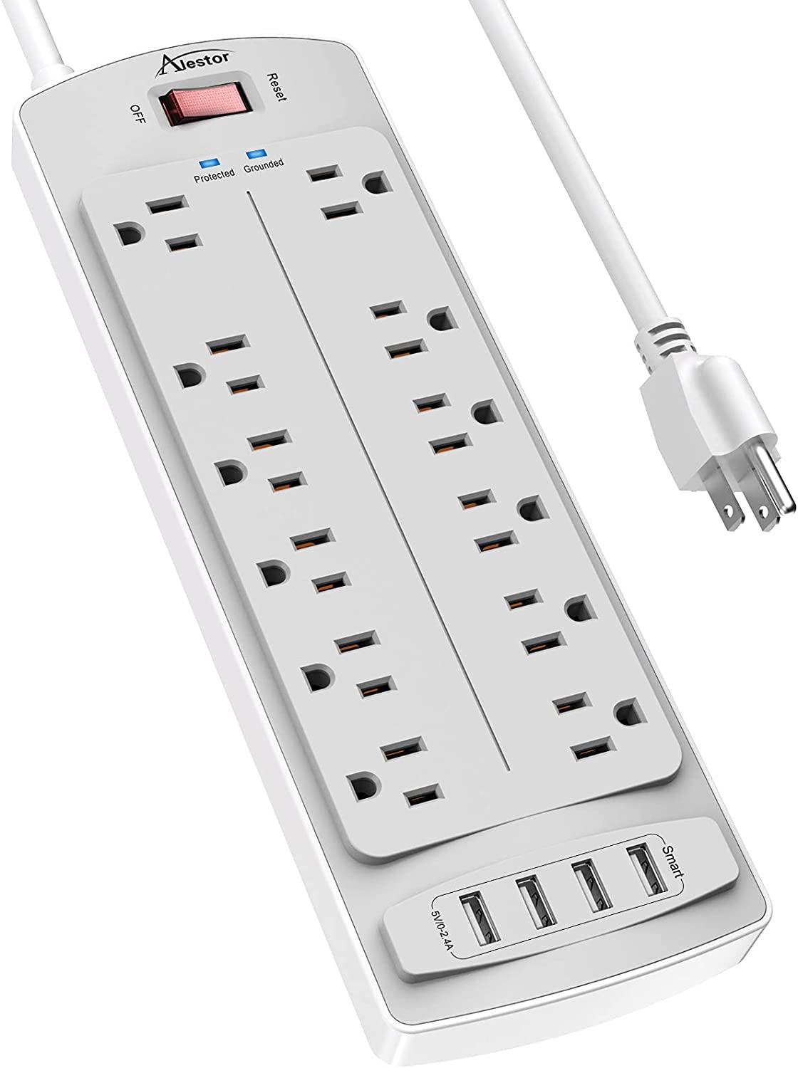 Power Strip ,ALESTOR Surge Protector with 12 Outlets and 4 USB Ports, 6 Feet Extension Cord (1875W/15A) for for Home, Office, Dorm Essentials, 2700 Joules, ETL Listed (White/Grey)