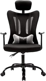 Sillas de escritorio de oficina Silla de oficina en el hogar Silla de escritorio ergonómica con respaldo alto Silla de oficina giratoria de malla con brazos, asiento y respaldo ajustables (negro) Si