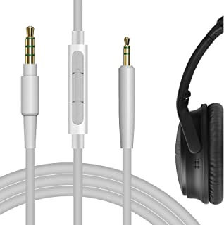 geekria QuickFit Kabel für Bose QuietComfort QC35, qc25, SoundTrue Kopfhörer, 2,5 zu 3,5 mm Kopfhörer Ersatz Audio Kabel mit Mikrofon und Lautstärkeregler, funktioniert mit IOS, Android (grau)