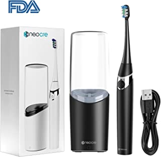 NeoCre Sonic Electric Toothbrush Kit Lower Noise with UV light cleansing drying and Rinse Cup Dentists Recommend Non-Copper Planting IPX7 Waterproof Wireless Charge 3 Brushing Modes Automatic Timer