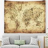 Odot Tapisserie Murale, Monde Carte Impression Tenture Murale Couverture Voyage Châle Serviette Drap de Plage Tapis de Yoga Nappe Pique Nique Couvre Lit (130x150cm,K)