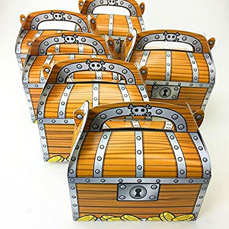 Adorox 12 Pack Pirate Treasure Chest Decoration Party Favor Goodie Candy Box Grab Bag Kitchen Dining Amazon Com
