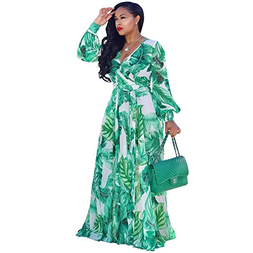 45a11f9b2b54c Nuofengkudu Womens Stylish Chiffon V-Neck Printed Floral Maxi Dress with  Waisted Belt Plus Size