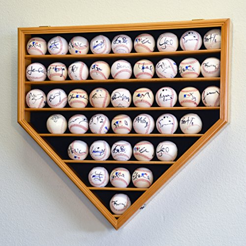 43Baseball Display Case Kabinett Inhaber Wand Rack Home Teller geformt W/UV-schützt abschließbar–Eiche